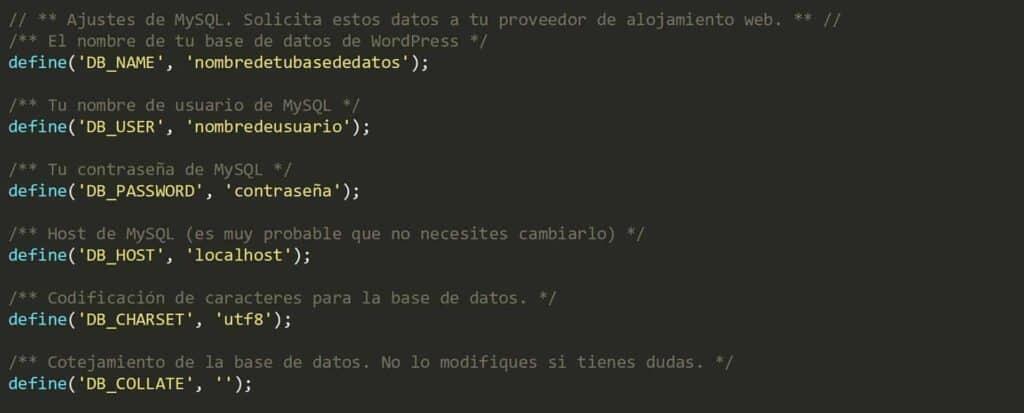 Archivo wp-config.php, donde agregar datos de la base de datos, Como instalar WordPress manualmente