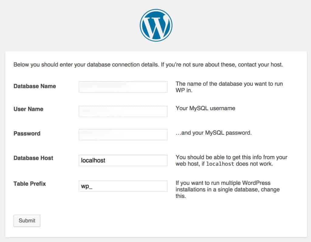 Rellenar formulario para conectar WordPress con la base de datos. Como instalar WordPress manualmente