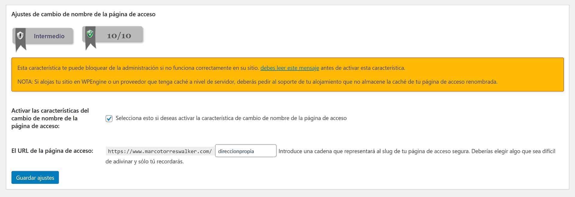 WordPress login. Ajustes del plugin All In One WP Security