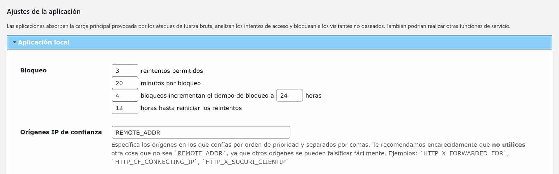 WordPress login. Ajustes el plugin Limit Login Atempts Reloaded