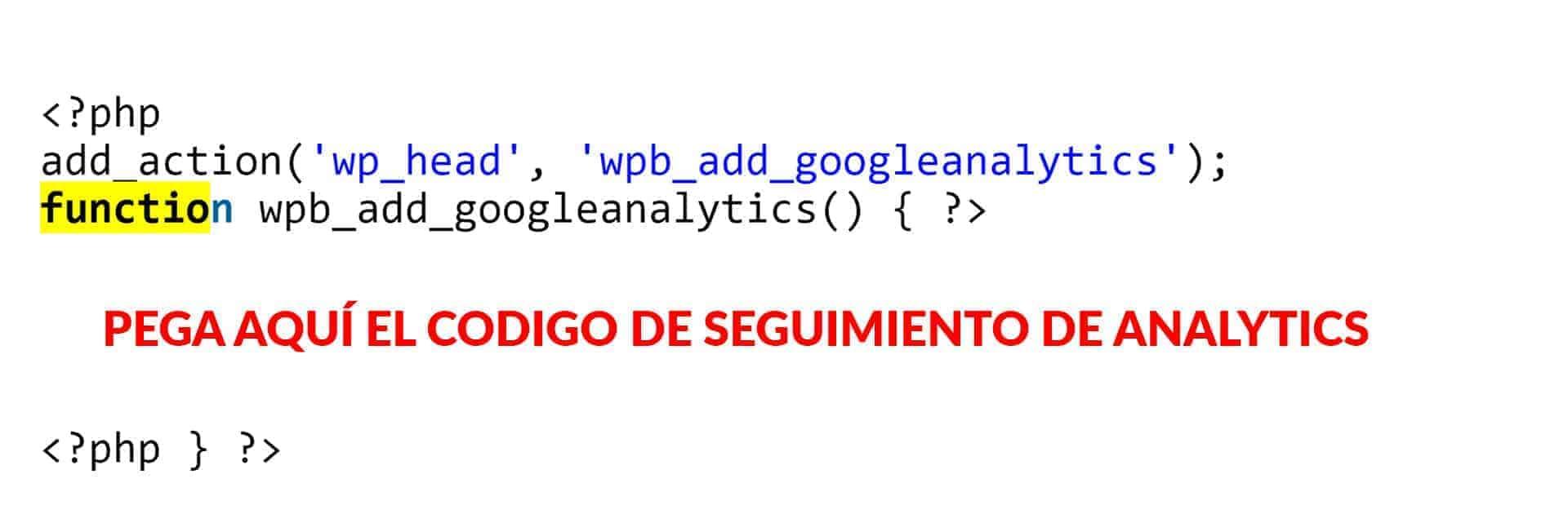 Insertar el código de Analytics en functions.php.