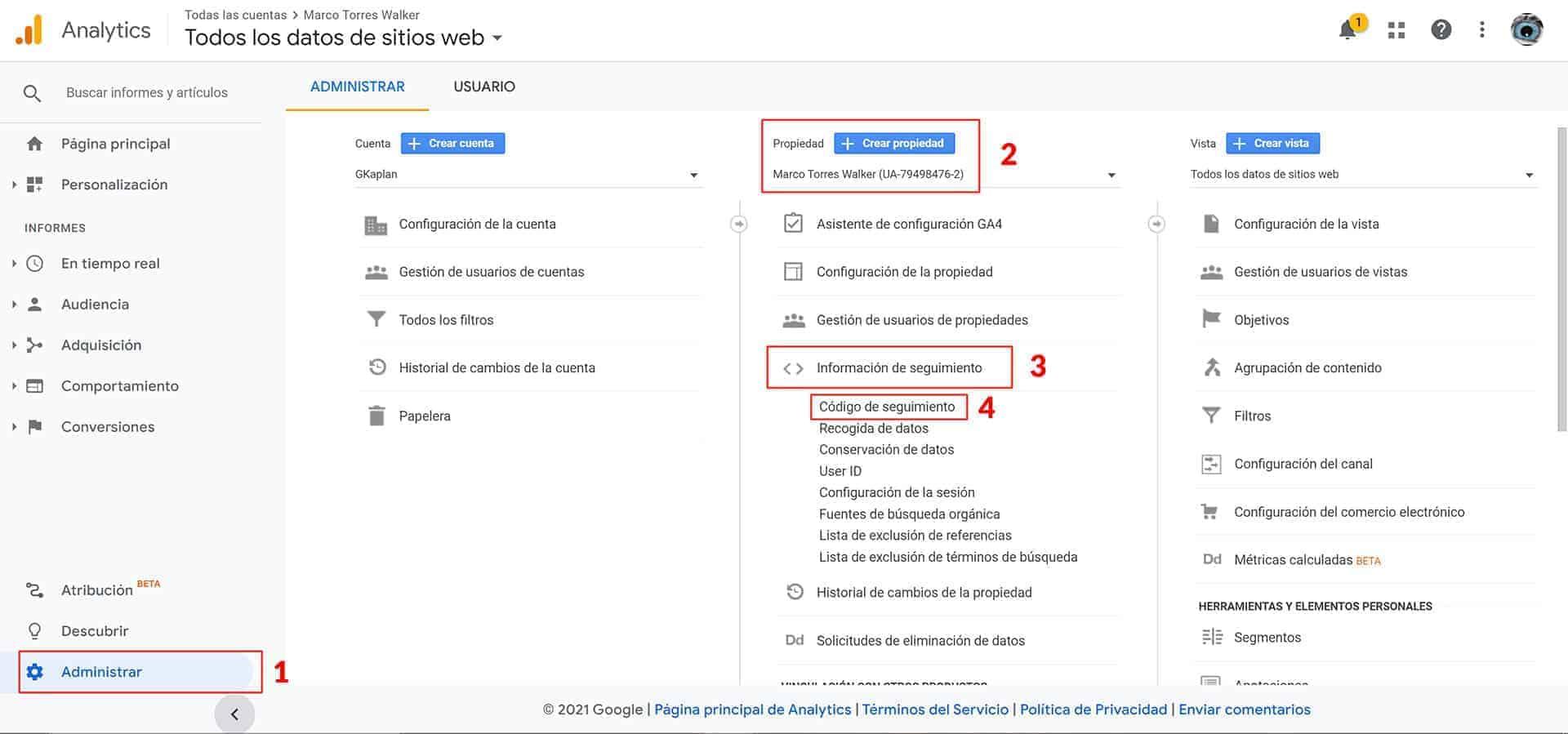 Obtener el Id de Seguimiento de Google Analytics.