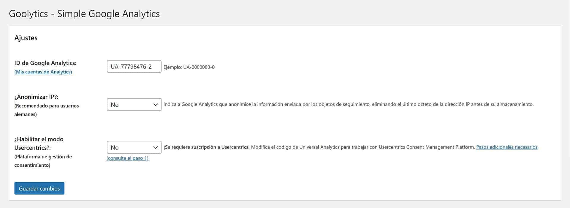 Ajustes de Simple Google Analytics.
