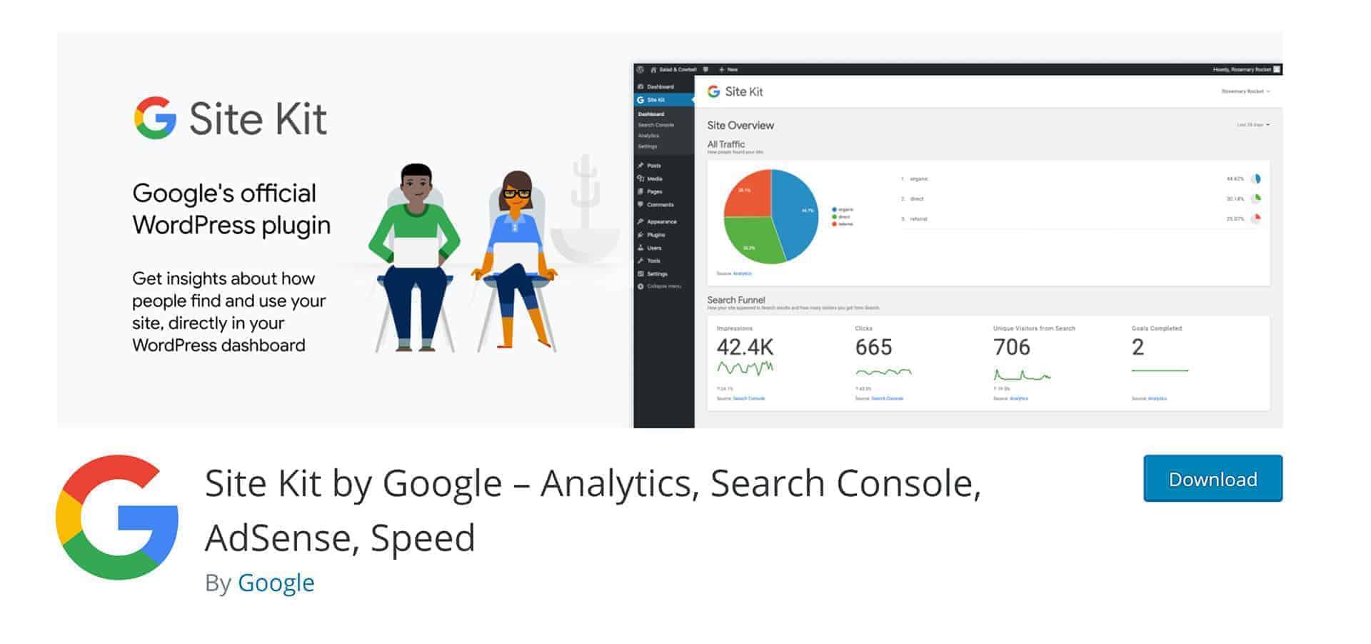 Google Site Kit plugin vincula Google Analytics y WordPress, ademñás de otras herramientas.