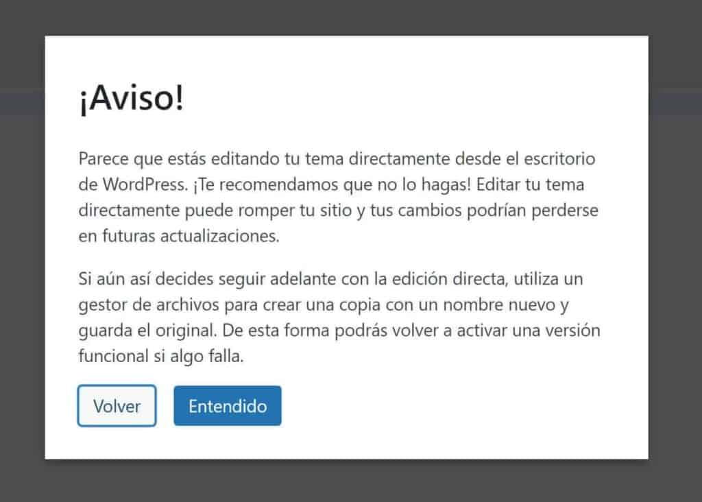 WordPress avisa de que esta no es la mejor manera.