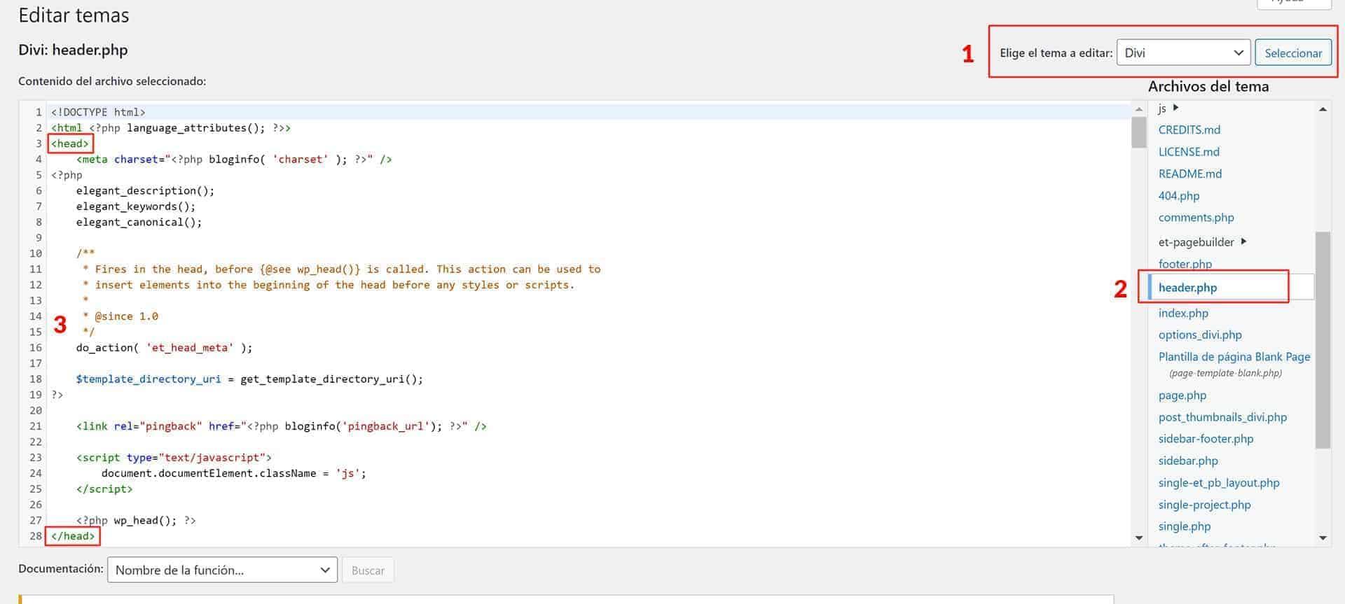 Editar el archivo header.php de tu tema.