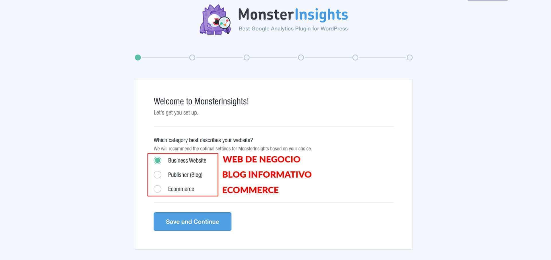 Configuración de MonsterInsights.