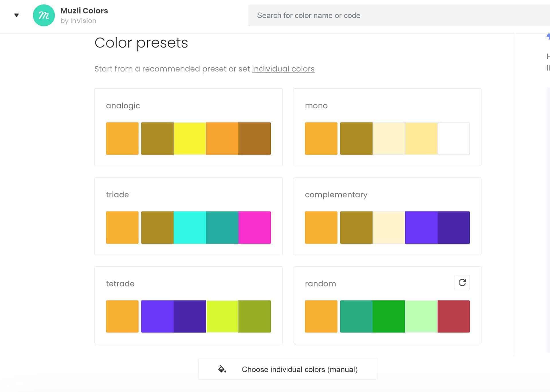 Generador de paletas de colores de Muzli colors.