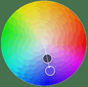 Rueda de gamas de colores monocromáticos.