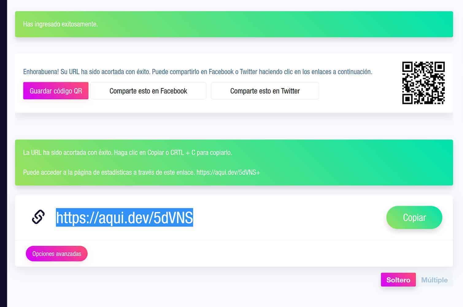 Panel de opciones de personalización de una URL corta en Aqui.dev.