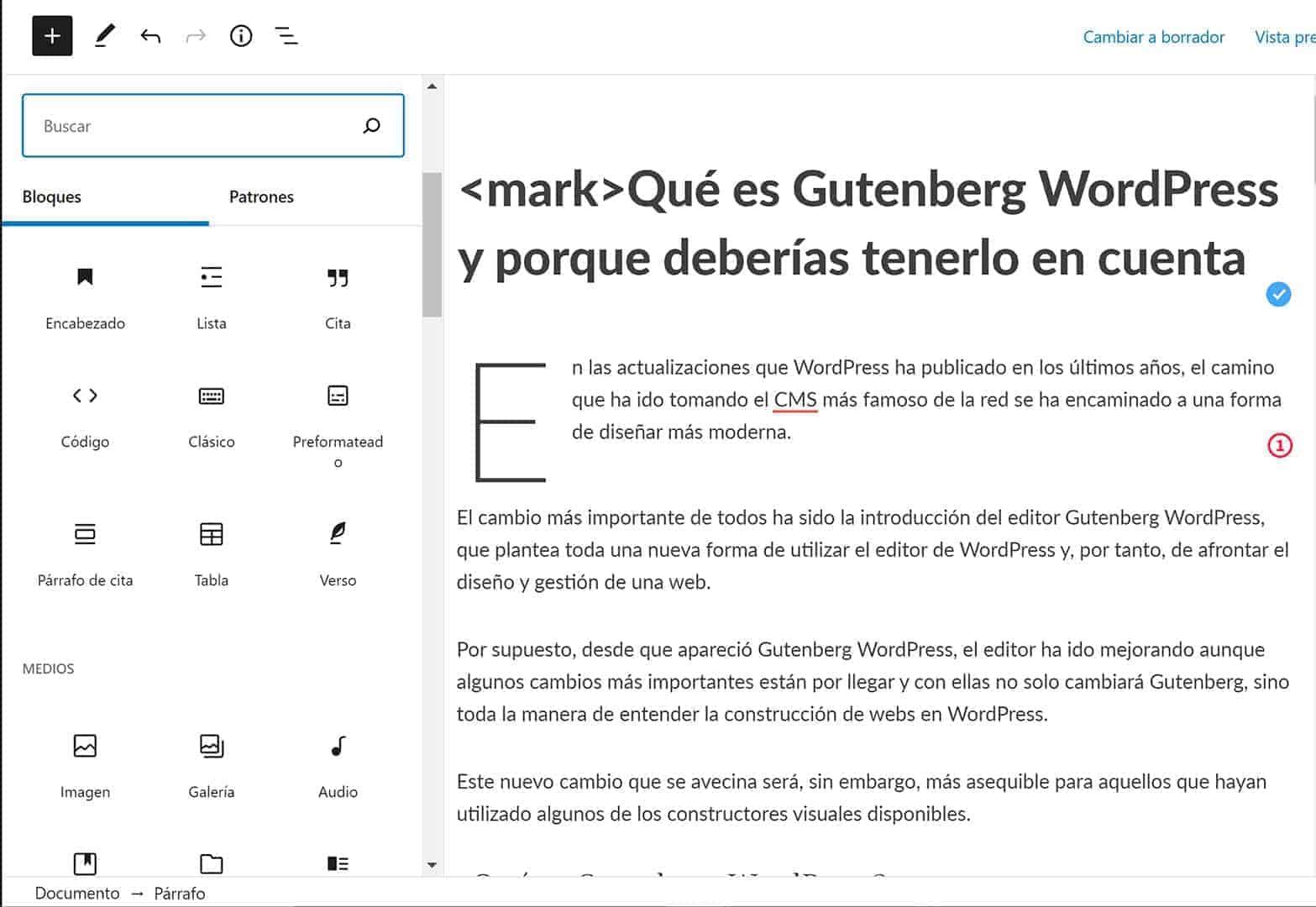 Editor de bloques de Gutenberg WordPress. Qué es Gutenberg WordPress