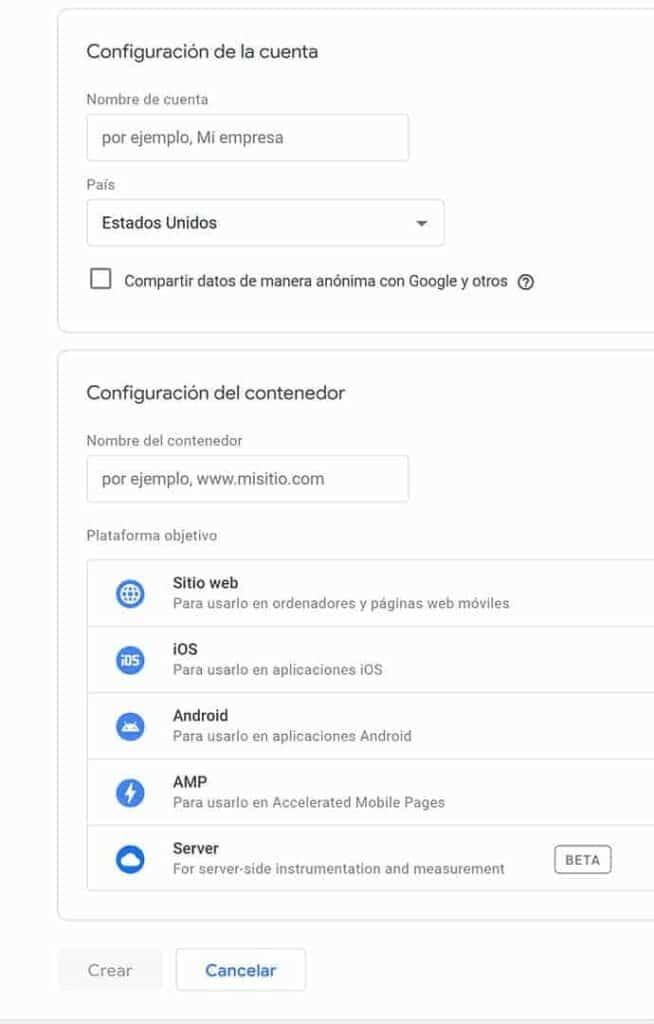 Formulario de configuración de cuenta de Google Tag Manager. Para qué sirve Google Tag Manager