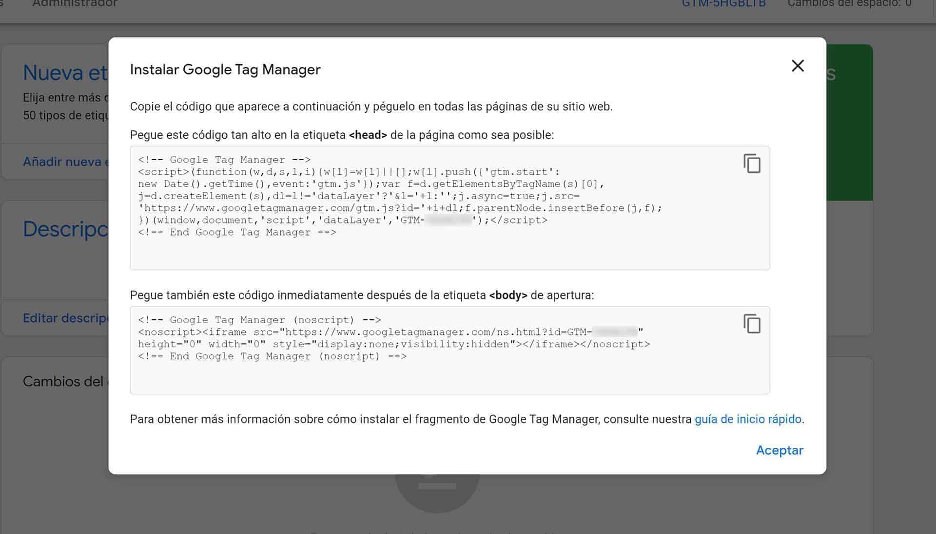 Los dos fragmentos de código que hay que instalar en la web para Google Tag Manager.