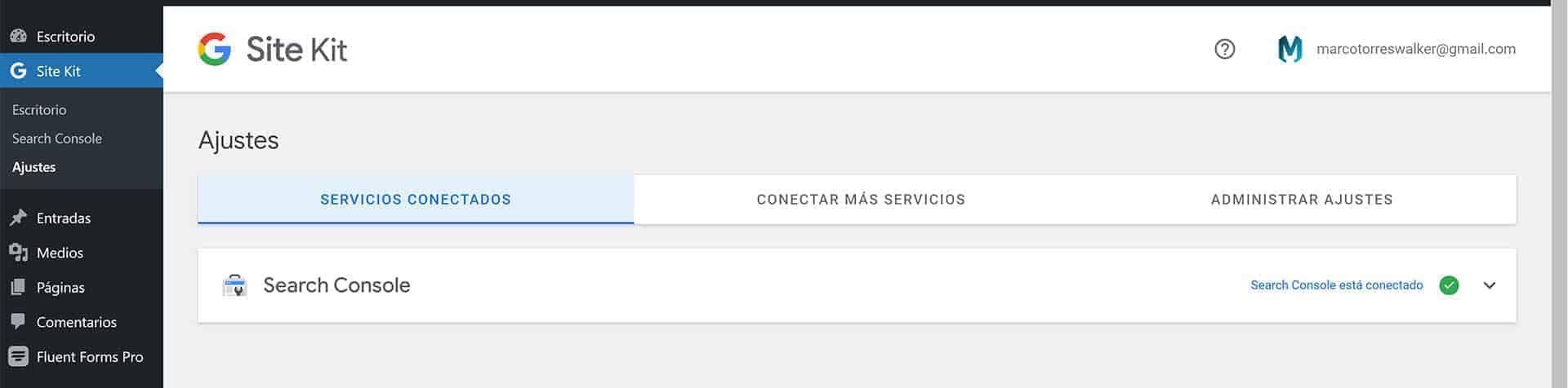 Configuración de Google Site Kit en WordPress.