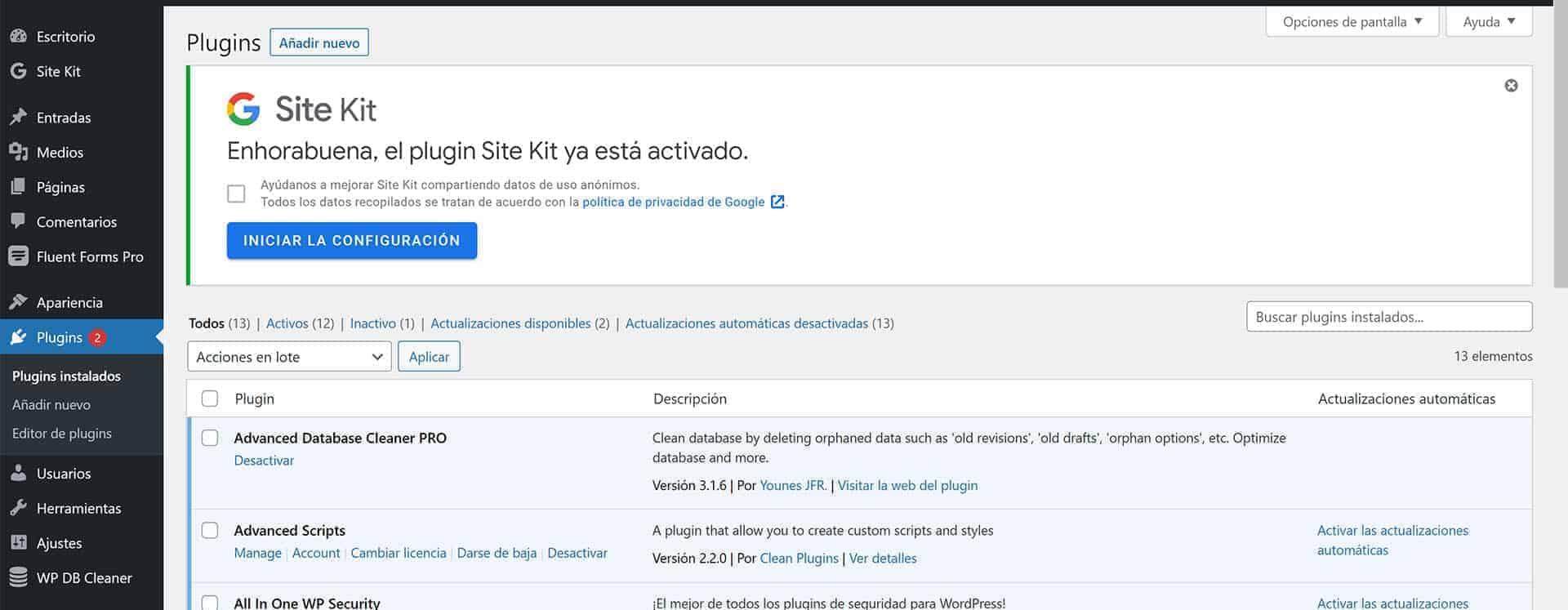 Inicio de la configuración del plugin Google Site Kit.