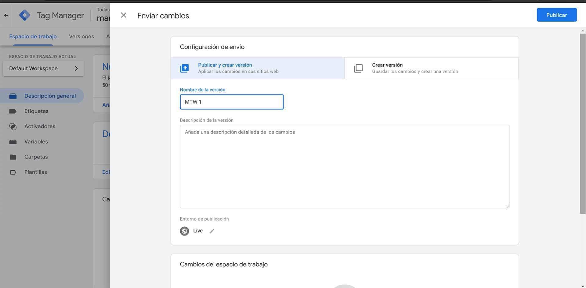 Enviando el contenedor de Google Tag Manager a la web.
